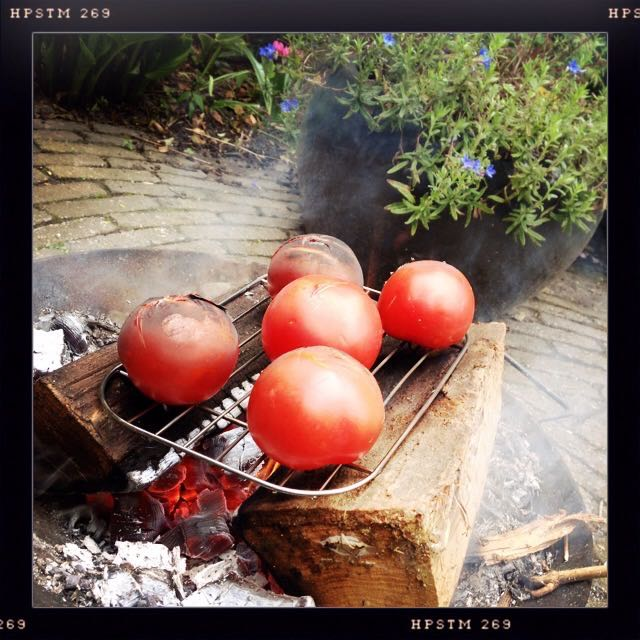 Tomaten grillen boven een vuurtje